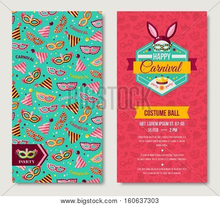 Carnival two sides poster, flyer or invitation design. Vector illustration. Funfair funny tickets design with pattern. Rabbit Ears, Masquerade Masks, Photo booth elements.