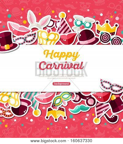 Carnival Concept Banner with Icons Stickers on Pink Backdrop. Vector Flat Illustration. Horizontal White Frame with Place for your Text. Photo Booth Party Elements.