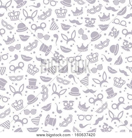 Neutral black and white carnival seamless pattern with mask, detective hat, smiling lips and princess crown. Vector illustration. Fun fair background