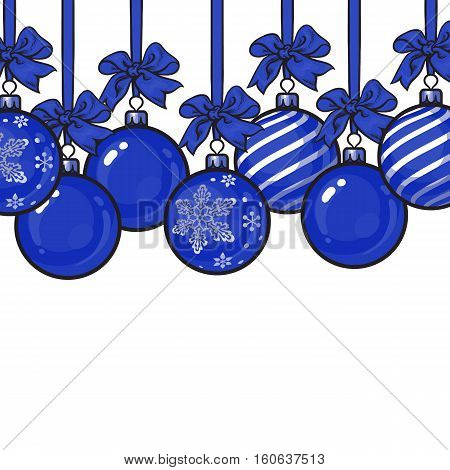 Blue Christmas balls with blue ribbon and bows, sketch style template for greeting card. Frame or border of hanging blue Christmas decoration balls - solid, striped and with snowflake ornament