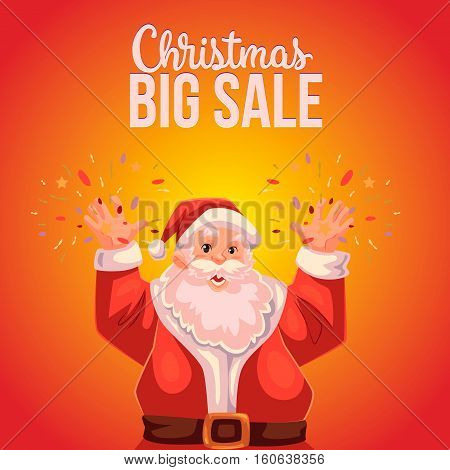Cartoon style Santa Claus making fireworks, Christmas sale banner, red background, text at the top. Half length portrait of Santa declaring a sale, Christmas sale banner template