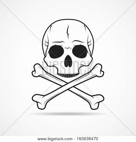 Human skull and crossbones isolated on light background. Vector illustration