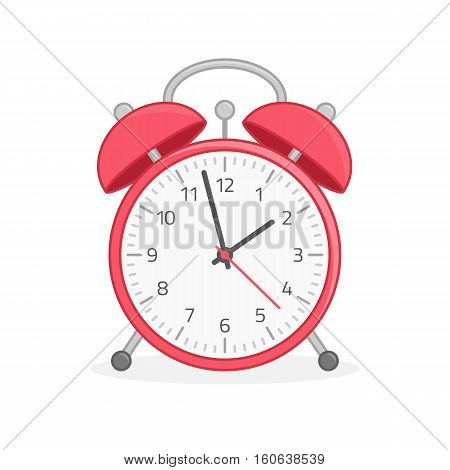 Vector illustration of red alarm clock isolated on white background. Modern flat design style. Alarm Clock icon.