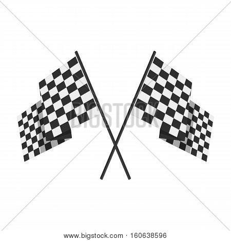 Two crossed checkered Flags or racing flags. Vector illustration.