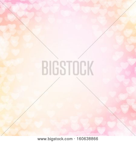 Vector illustration of pink background with light hearts for wedding, valentines card template. Shiny blur backdrop for holiday greeting banner, poster