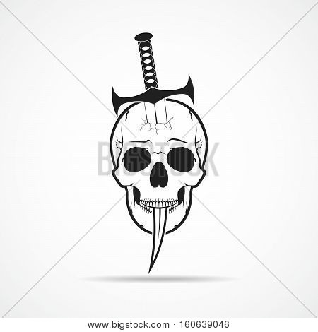 Human skull slain by a sword. Skull and sword isolated on light background. Vector illustration