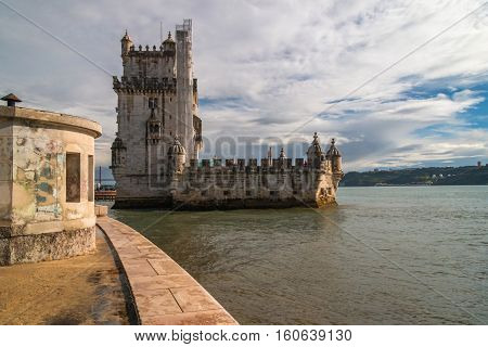 Belem Tower, Lisbon, Portugal panorama view with reflection
