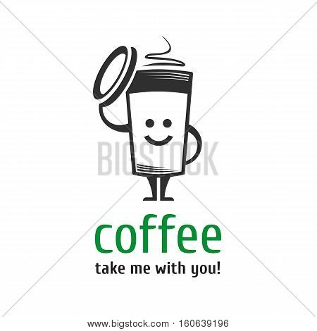 Vector character cup of coffee. Template logo for coffee shops, takeaway coffee, coffee to go. Smiling cup of coffee.