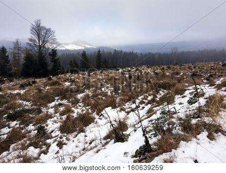 The mountain landscape in winter Czech Republic