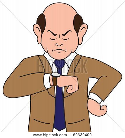 Irritated cartoon businessman is glaring at his watch