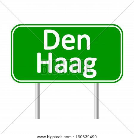 Den Haag road sign isolated on white background.
