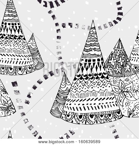 Illustrations wigwam tepee home with tribal ornament hand drawn with black ink. path on snowy background seamless pattern