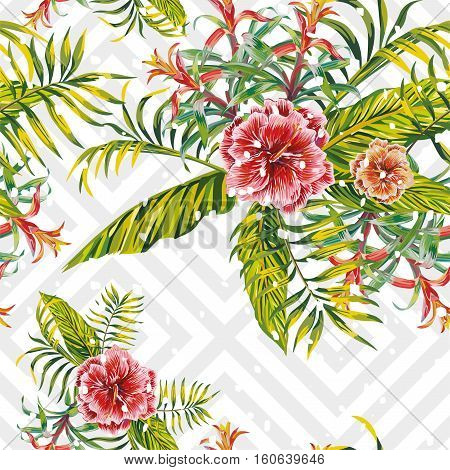 Seamless christmas snow tropical pattern with exotic flowers hibiscus and bromeliad vector palm leaves on geometric background