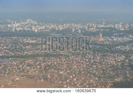 View on city from flight altitude cityscape
