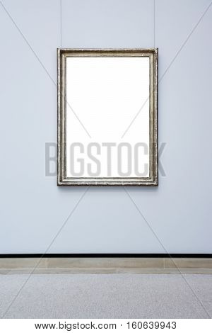 Art Museum Frame Blue Wall Ornate Minimal Design White Isolated Clipping Path Template