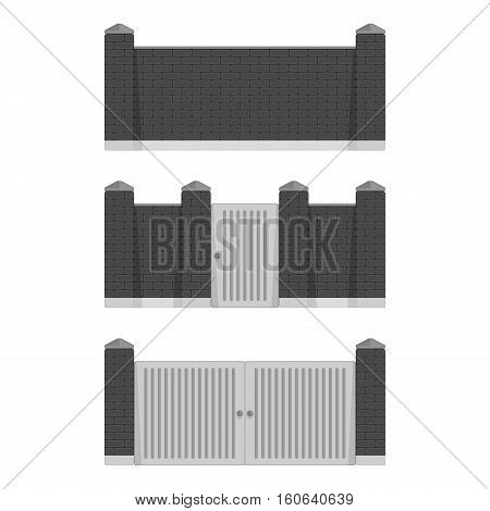 Stone bricks fence set with door and gate isolated white background. Castle tower wall stone fence in black color. Castle wall railing vector illustration.