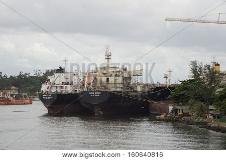 Niteroi Brazil - december 01 2016: Cargo ships docked at a shipyard in the city of Nitero