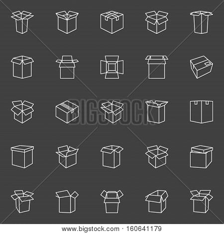 Box line icons. Vector collection of cardboard box linear signs on dark background