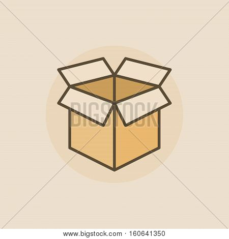 Open box flat icon. Vector colorful box symbol or sign on brown background
