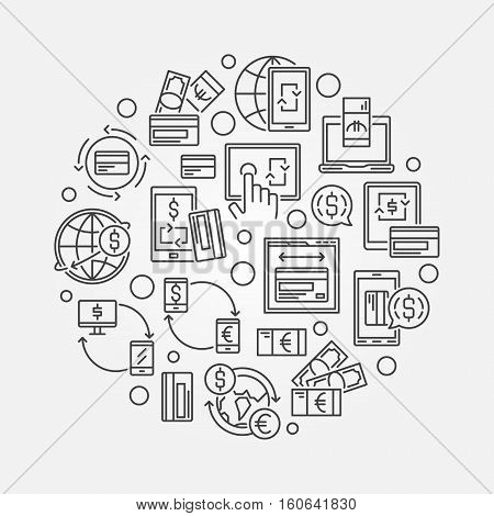 Electronic funds transfers circular illustration. Vector round currency exchange and money transfer creative sign in thin line style