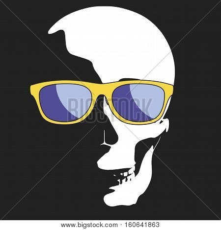 fun skull appearing from the darkness wearing sunglasses. vector illustration