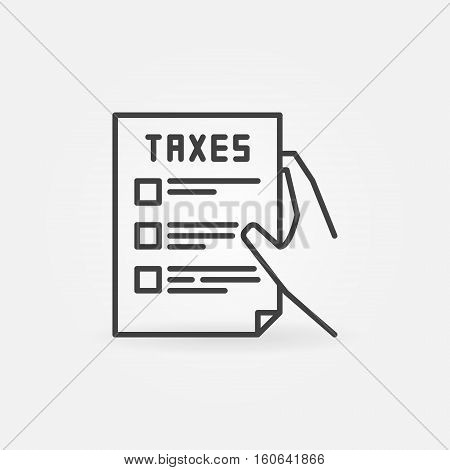 Hand holding tax form line icon. Vector minimal taxation concept symbol or logo element