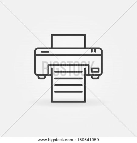 Printer line icon. Vector minimal printer with paper symbol or logo element in outline style. Print concept sign