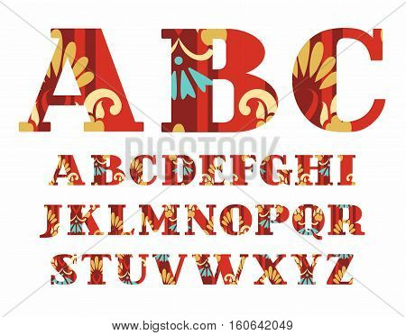 English alphabet, gold flowers, vector font, capital letters, red. The letters of the English alphabet with serifs. Gold and blue flowers on a red background.