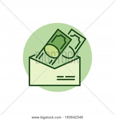 Money in envelope colorful icon. Vector receiving and giving cash symbol or logo element