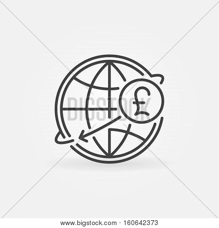 Pound international money transfer icon. GBP currency concept symbol in thin line style. Pound sterling with globe linear sign or logo element