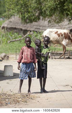 BOR, SOUTH SUDAN- JUNE 25, 2012: Unidentified children in the village of Bor, South Sudan