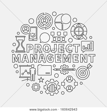 Project Management round illustration. Vector circular outline symbol made with word PROJECT MANAGMEMNT and business icons