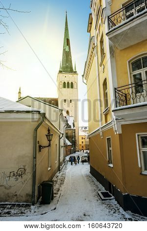Tallinn. Estonia.January 6 2016.City houses and Cathedral of St. Olaf in old Tallinn in winter.