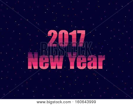 2017 New Year In 80's Retro Style. Text In The Futuristic, Neon. Vector Illustration.