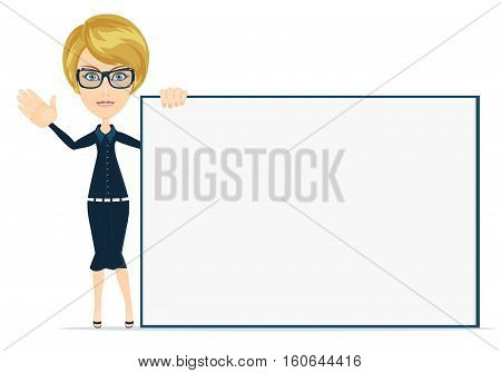 Poster businesswoman style your brand here. Stock vector illustration