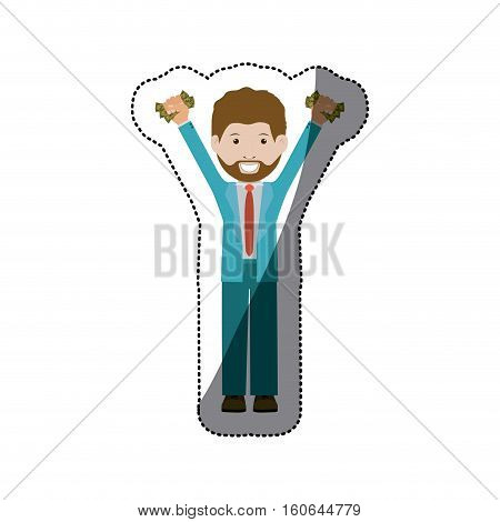 Bill and businessman icon. Money financial item commerce market and buy theme. Isolated design. Vector illustration