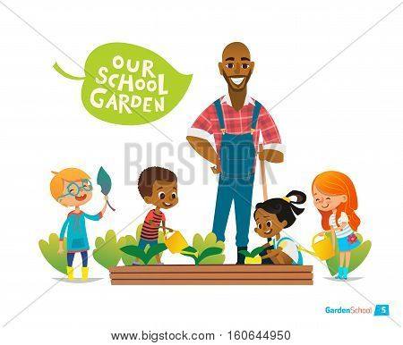 Teacher and kids engaged gardening in the backyard. Girl watering flowers in the garden. Eco concept. Montessori education concept. Organic gardening.