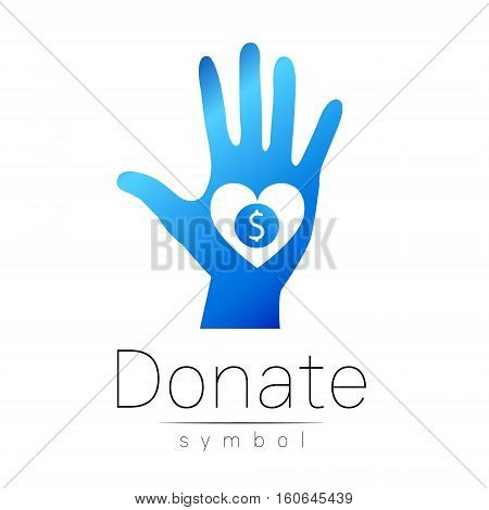 Donation sign icon. Donate money hand and heart. Charity or endowment symbol. Human helping. Icon on white background. Vector.Blue color. Concept.
