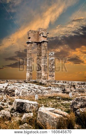 Ancient Acropolis of Rhodes at Sunset Greece