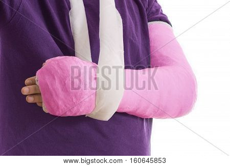 Broken Arm In Pink Plaster Cast And Sling