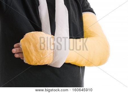 Broken Arm In Yellow Plaster Cast And Sling