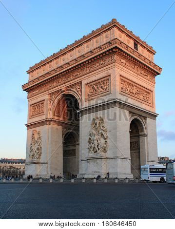 The Triumphal Arch is one of the most visited monuments in Paris. It honors those who fought and died for France. January 11 2014