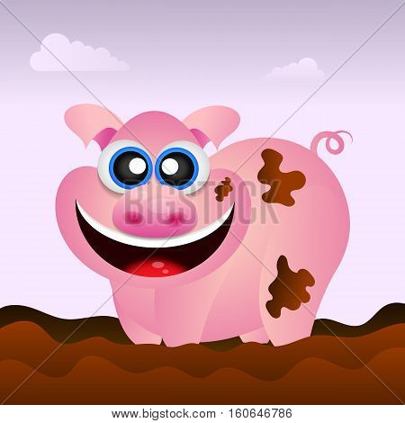 Pig illustration. Pig illustration funny. Pig cartoon. Pig character. Farm animal