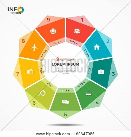 Colorful Infographic Template With 9 Options Circle Chart