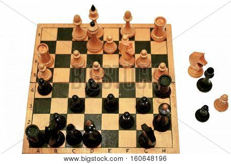 Abstract composition of chess figures. Isolated on white background.