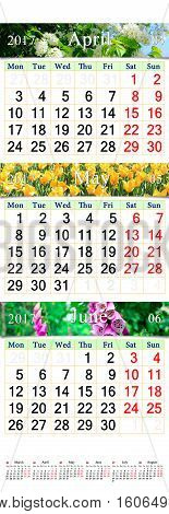 wall calendar for three months April May and June 2017 with pictures of nature. Wall calendar for second quarter of 2017