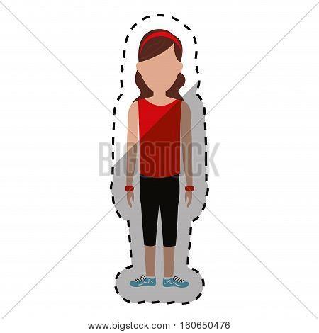 Woman sport wear icon vector illustration graphic design