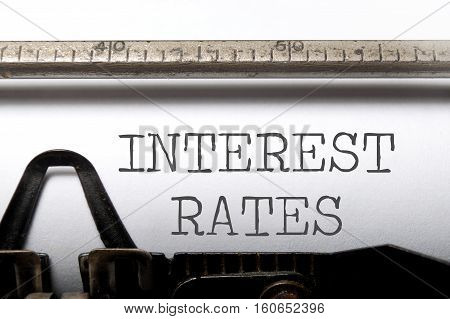 Interest rates headline printed on an old typewriter