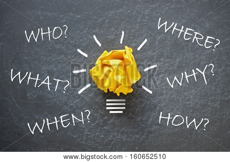 Who what when where how and why questions around a paper light bulb