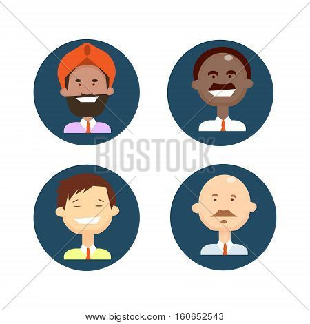 Ethnic Business People Group Icon Set Mix Race Man Businesspeople Team Flat Vector Illustration